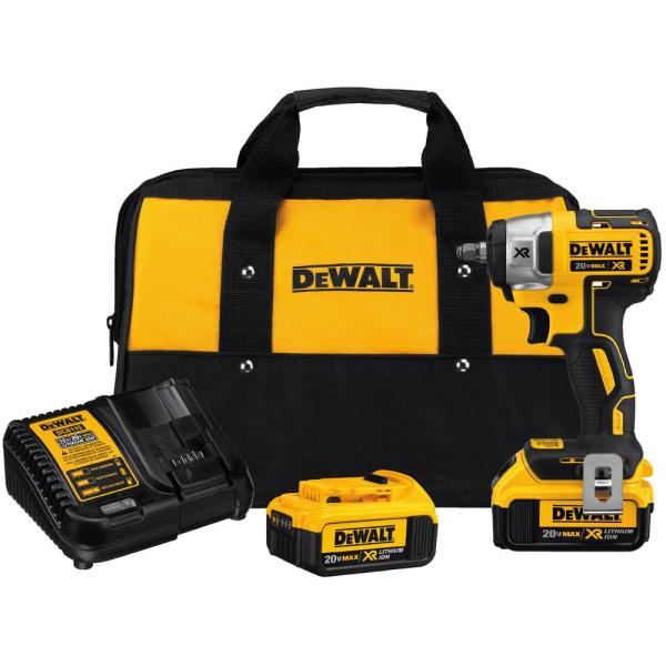20-Volt MAX XR Lithium-Ion Cordless 3/8 in. Brushless Impact Wrench Kit with (2) Batteries 4Ah, Charger and Bag