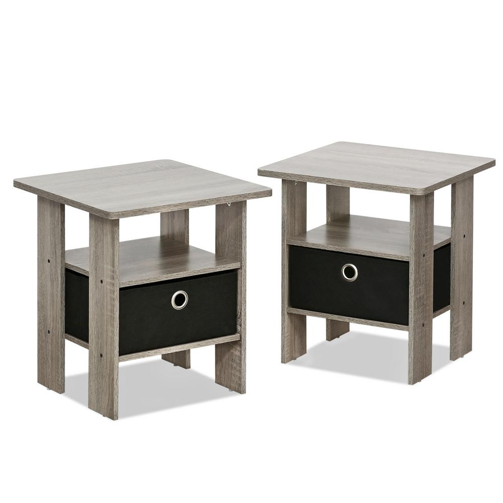 Home Living French Oak Grey Storage End Table (Set of 2)