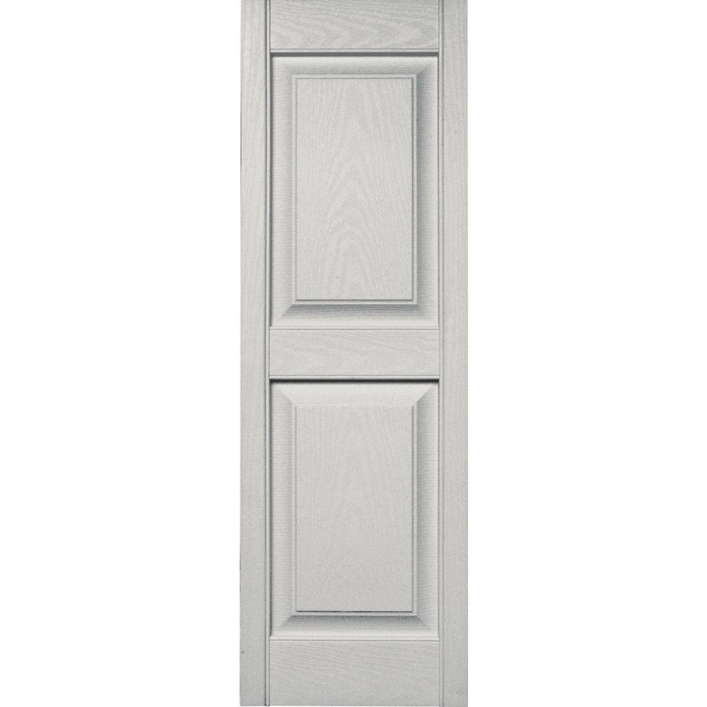Builders Edge 15 in. x 47 in. Raised Panel Vinyl Exterior Shutters ...