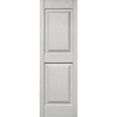 15 in. x 47 in. Raised Panel Vinyl Exterior Shutters Pair in #030 Paintable