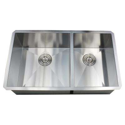 Undermount 32 in. x 19 in. x 10 in. Deep Stainless Steel 16-Gauge Double Bowl 60/40 Zero Radius Kitchen Sink