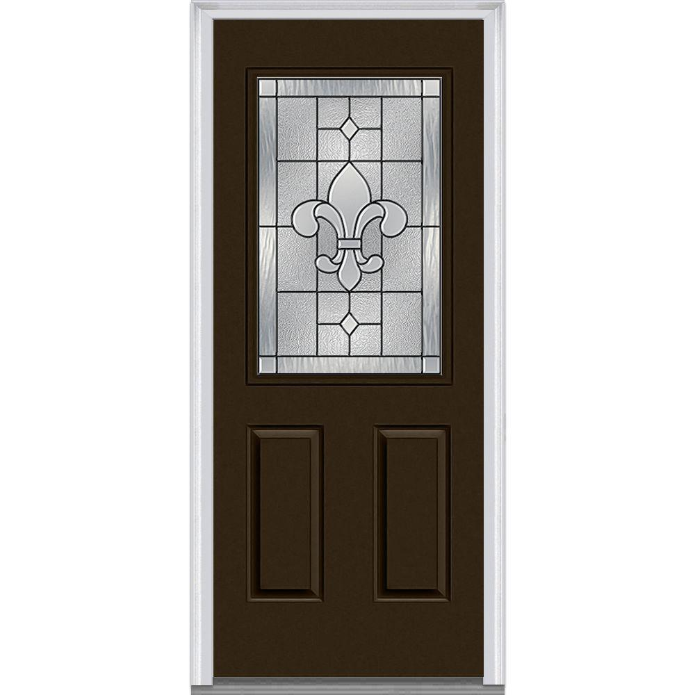 Mmi door 36 in x 80 in carrollton right hand 1 2 lite 2 panel classic painted steel prehung - Painting a steel exterior door model ...