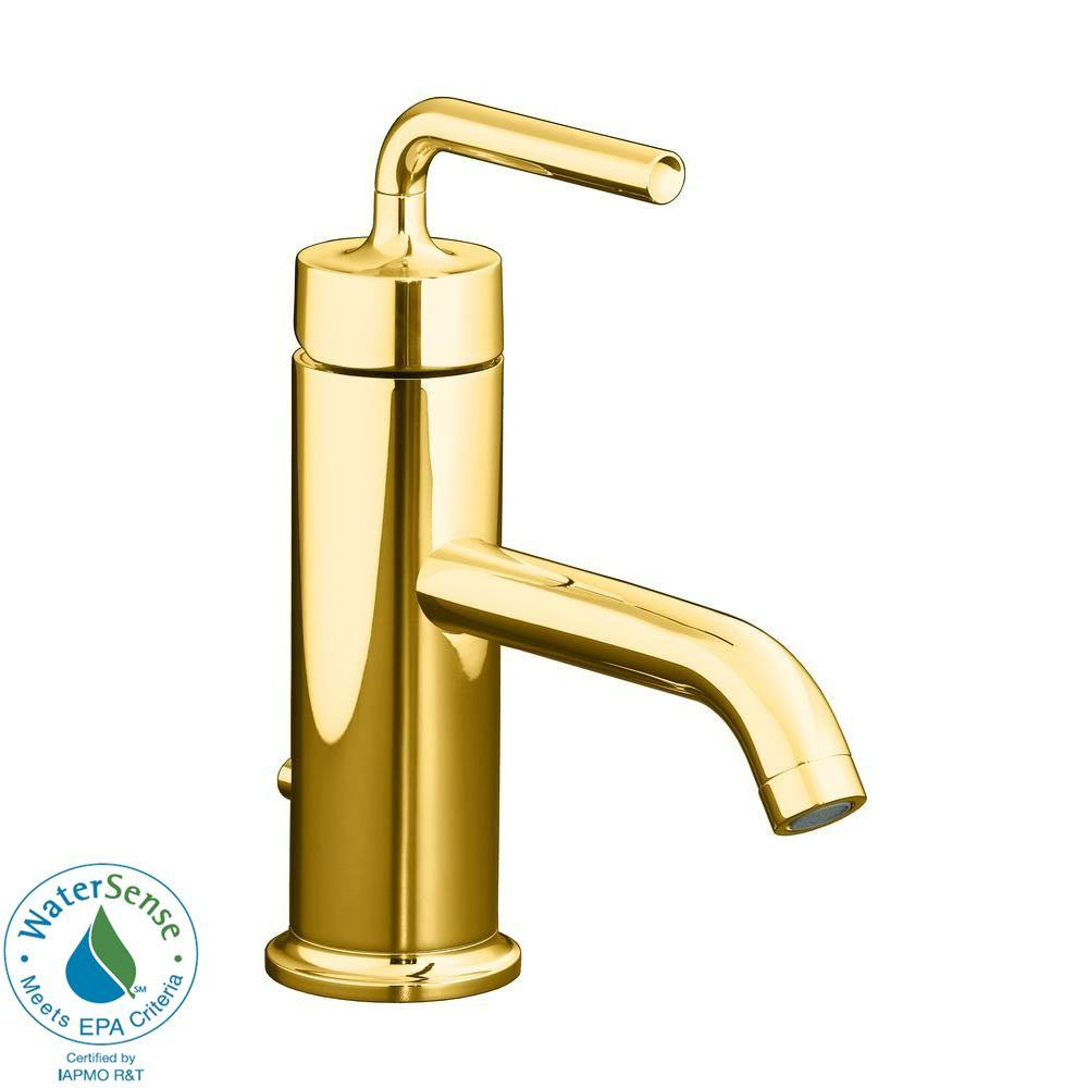 KOHLER Single Hole 1-Handle Low Arc Bathroom Faucet with Straight Lever Handle in Vibrant Moderne Polished Gold-DISCONTINUED