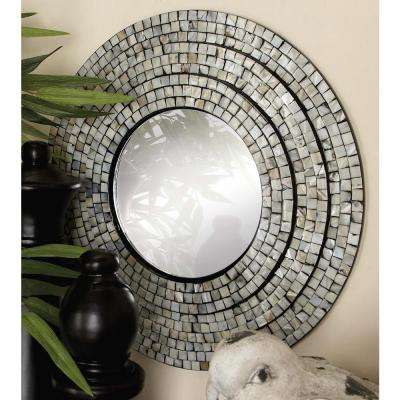2-Piece Contemporary Mother of Pearl Mosaic Wall Mirror Set