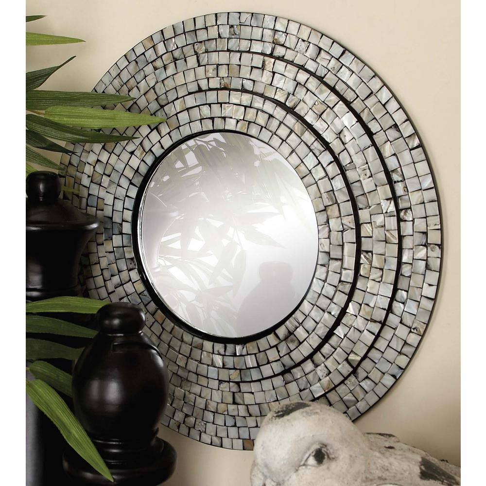 Litton Lane 2 Piece Contemporary Mother Of Pearl Mosaic Wall Mirror Set