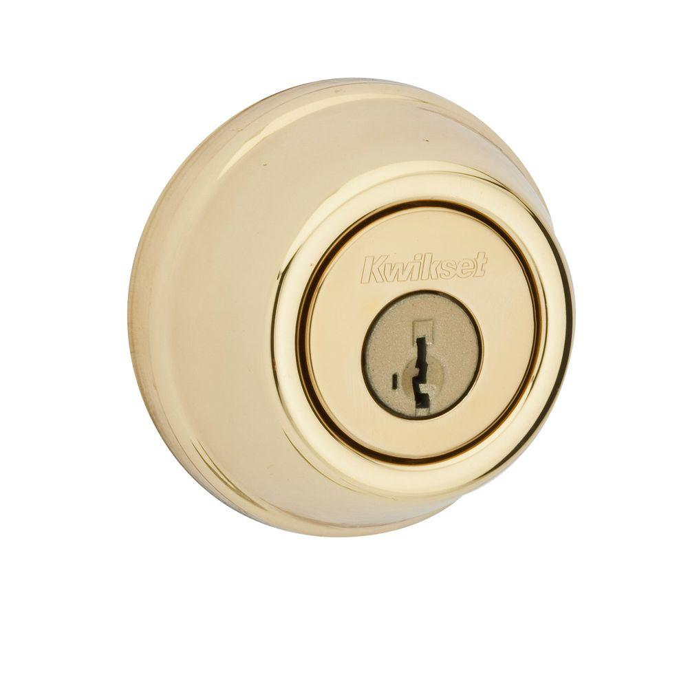 Kwikset 785 Series Double Cylinder Polished Brass Deadbolt featuring SmartKey