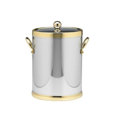 Americano 5 Qt. Polished Chrome & Brass Ice Bucket with Brass Lid, Metal Side Handles