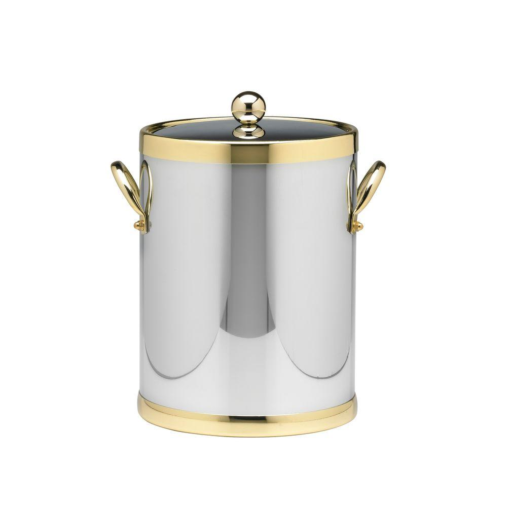 Americano 5 Qt. Polished Chrome & Brass Ice Bucket with Brass