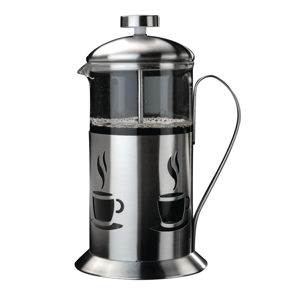 berghoff cooknco 2 5 cup stainless steel and glass french press 2211100 the home depot. Black Bedroom Furniture Sets. Home Design Ideas