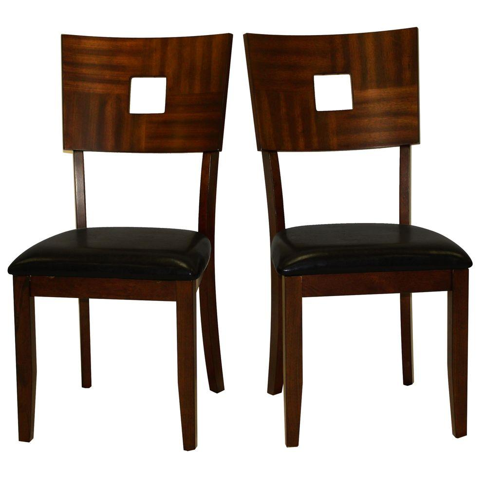 Home Decorators Collection Faux Leather Side Chair in Dark Brown (Set of 2)