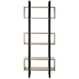 78.8 in. Light Brown/Black Metal 6-shelf Etagere Bookcase with Open Back