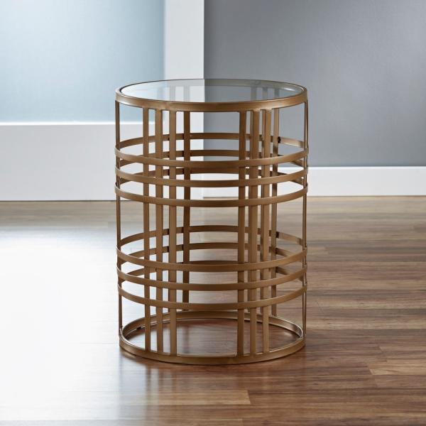 FirsTime 22 in. Gold Weave Side Table