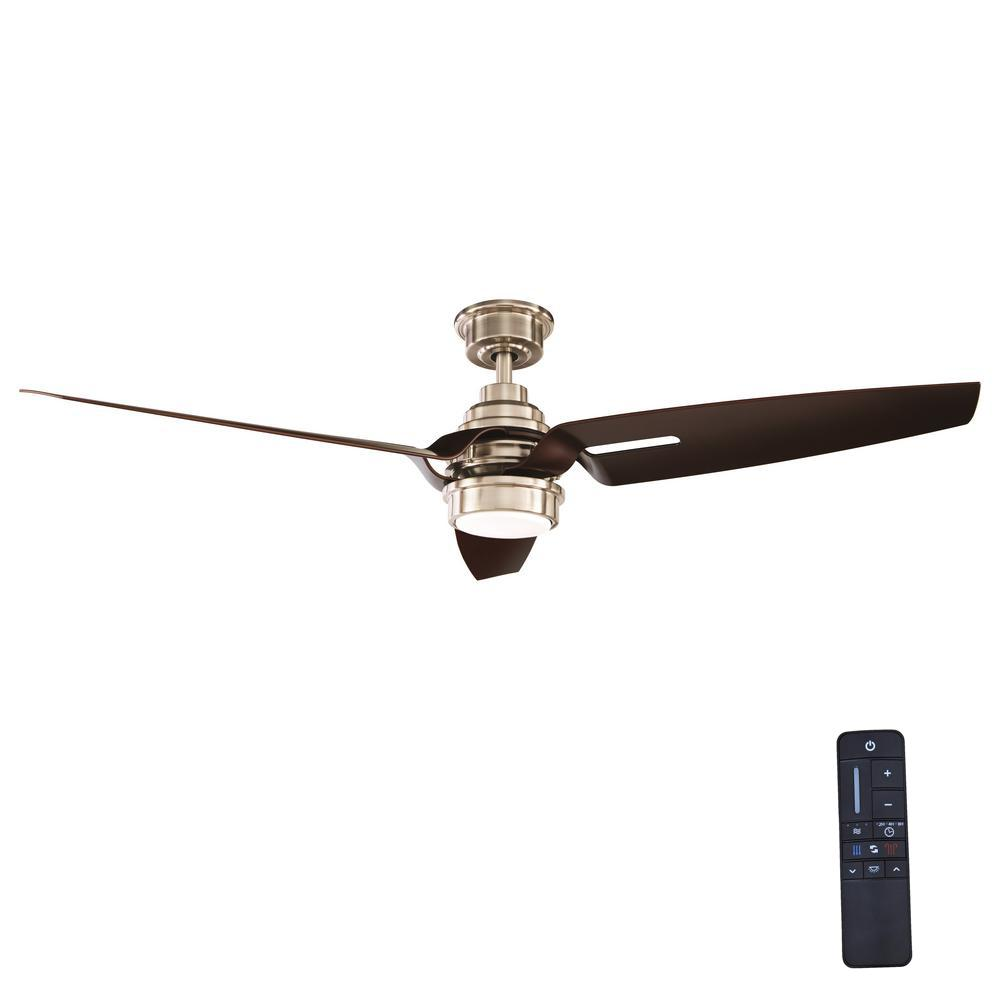 Home Decorators Collection Iron Crest 60 In Led Dc Motor Indoor Brushed Nickel Ceiling Fan With
