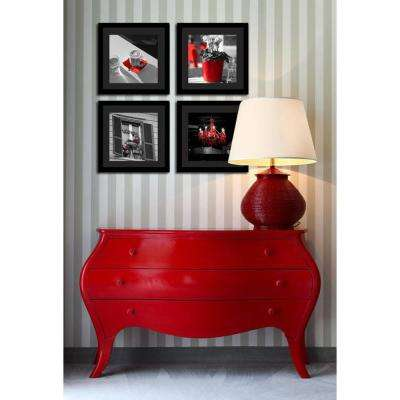 """Four 10 in. x 10 in. """"Red Rome"""" by Neeva Kedem Framed Printed Wall Art"""