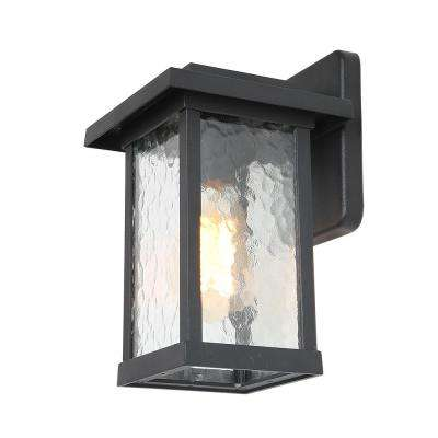 1-Light Black 4.7 in. Outdoor Wall Lantern Textured Glass Wall Sconce