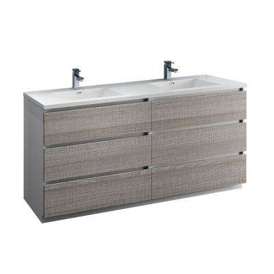 Lazzaro 71 in. Modern Double Bathroom Vanity in Glossy Ash Gray with Vanity Top in White with White Basins