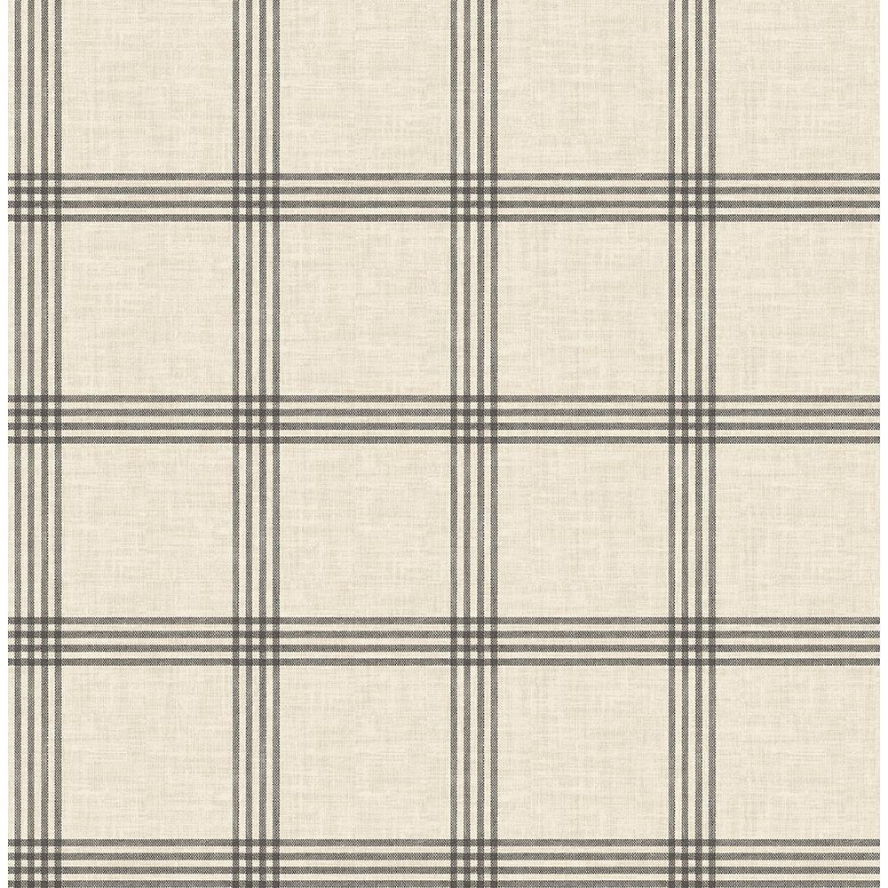 56.4 sq. ft. Ester Black Plaid Wallpaper