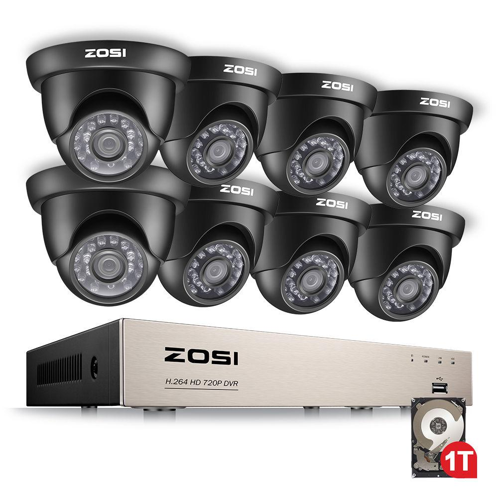 ZOSI 8-Channel 720p 1TB Hard Drive DVR Security Camera System with 8 Wired Dome Cameras