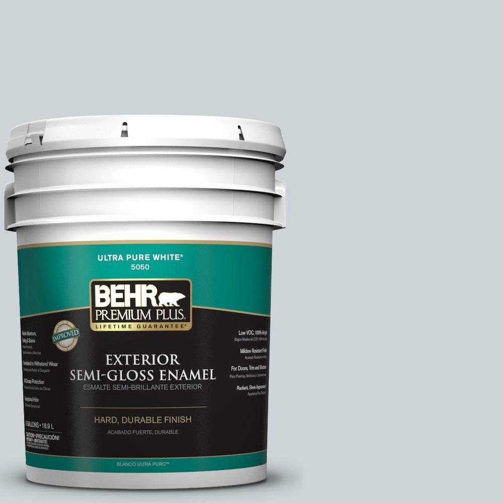 BEHR Premium Plus 5-gal. #N470-1 Ash Blue Semi-Gloss Enamel Exterior Paint