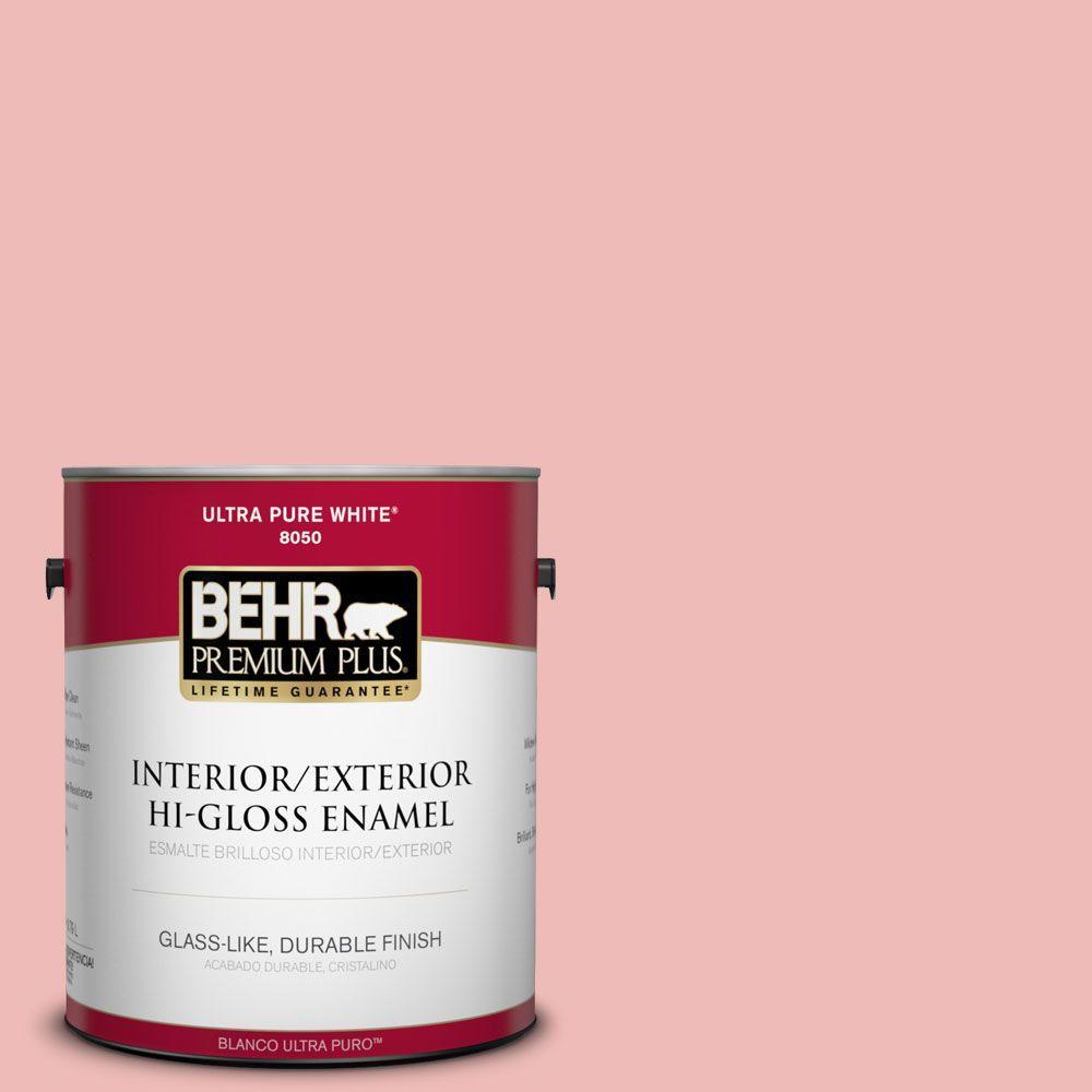 BEHR Premium Plus 1-gal. #BIC-04 Pink Taffy Hi-Gloss Enamel Interior/Exterior Paint