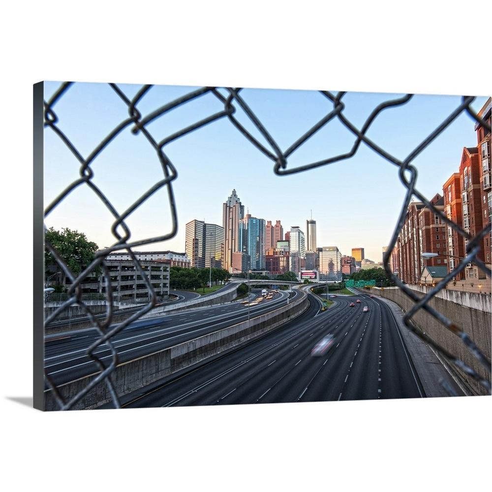 GreatBigCanvas ''Atlanta, Georgia skyline framed by a chain link fence'' by