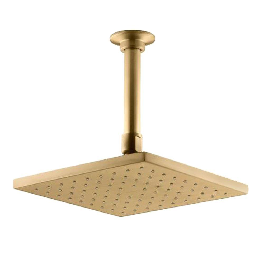 KOHLER 1 spray Single Function 8 in  Contemporary Square Rain Showerhead Vibrant Moderne Brushed Gold K 13695 BGD The Home Depot