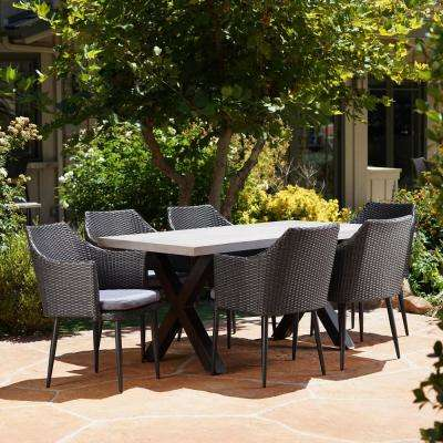 Macy Black and White 7-Piece Polyethylene Wicker Outdoor Dining Set with Grey Cushions