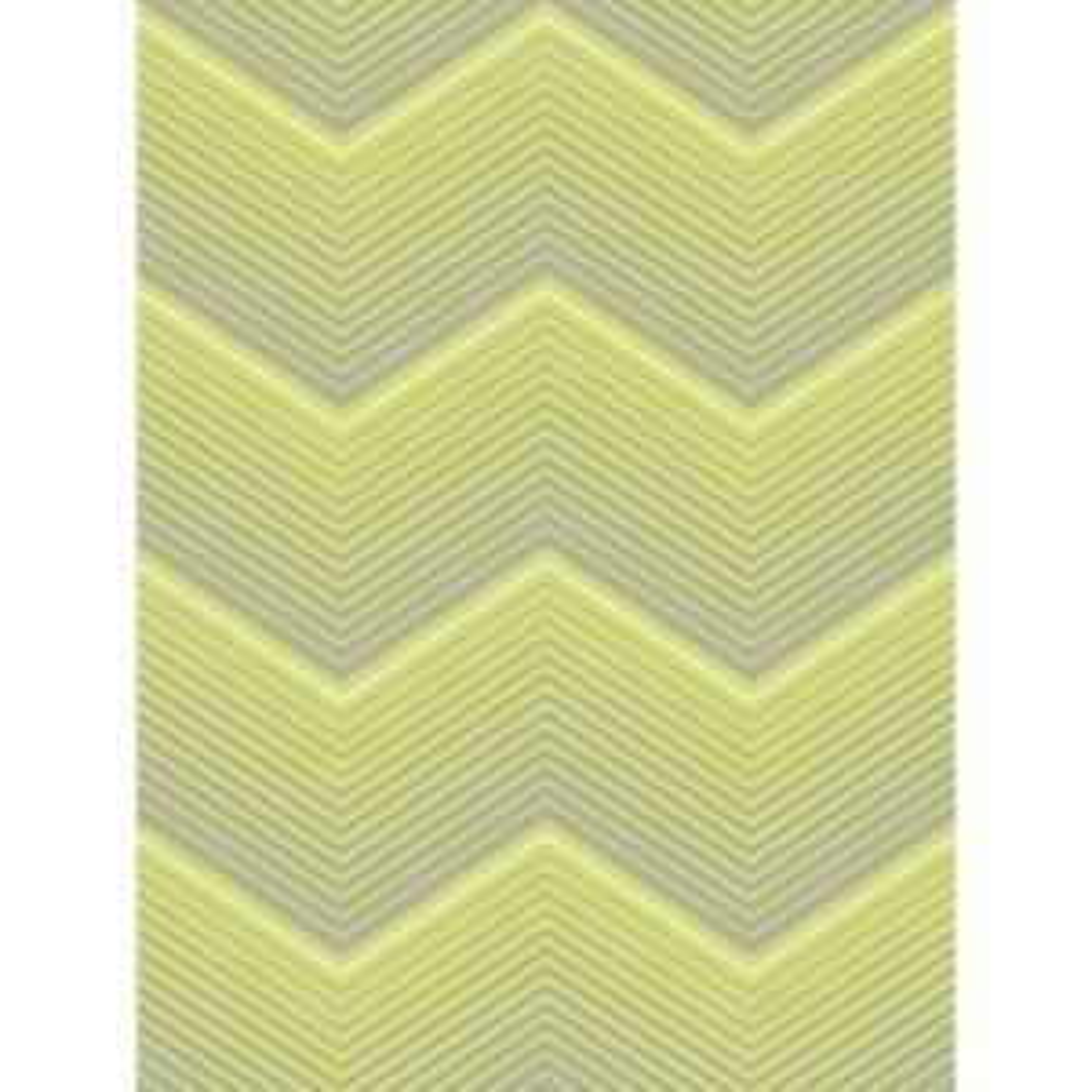 Chevron Metallic Silver And Green Stripe Wallpaper