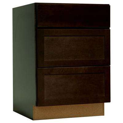 Shaker Assembled 24x34.5x24 in. Drawer Base Kitchen Cabinet with Ball-Bearing Drawer Glides in Java