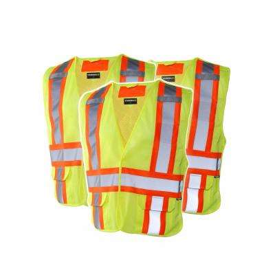 High-Visibility 5-Point Tear Away Reflective Safety Vest , SZ L/XL (3-Pack)