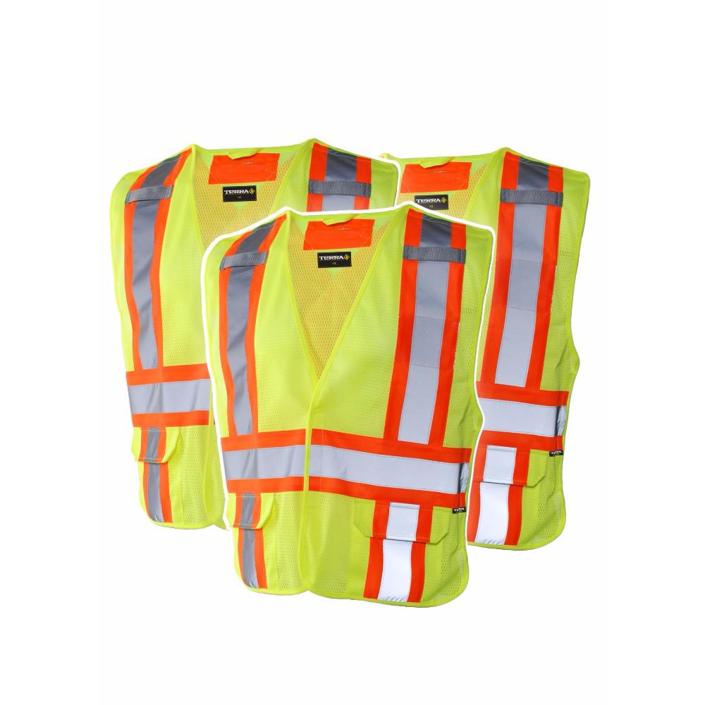 Terra High Visibility 5 Point Tear Away Reflective Safety Vest Sz