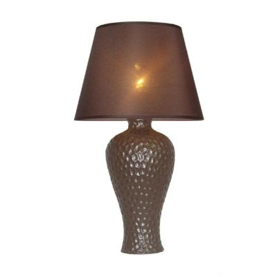19.5 in. Brown Textured Stucco Curvy Ceramic Table Lamp