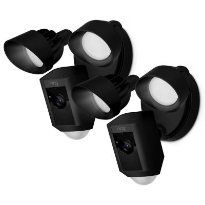 Outdoor Wi-Fi Cam with Motion Activated Floodlight, Black (2-Pack)