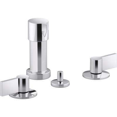 Components 2-Handle Widespread Bidet Faucet with Lever Handles in Polished Chrome