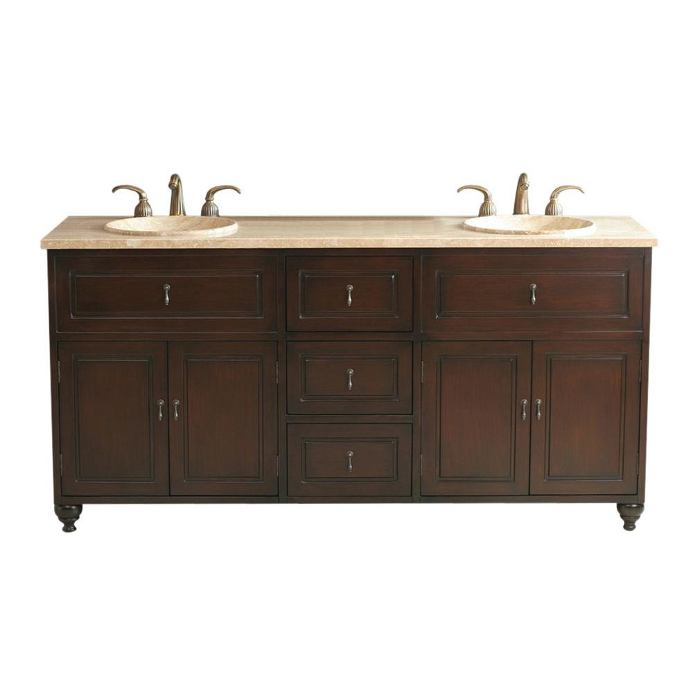 Virtu USA Ostia Dark 72 in. Double Basin Vanity in Antique Walnut with Natural Stone Vanity Top in Travertine-DISCONTINUED