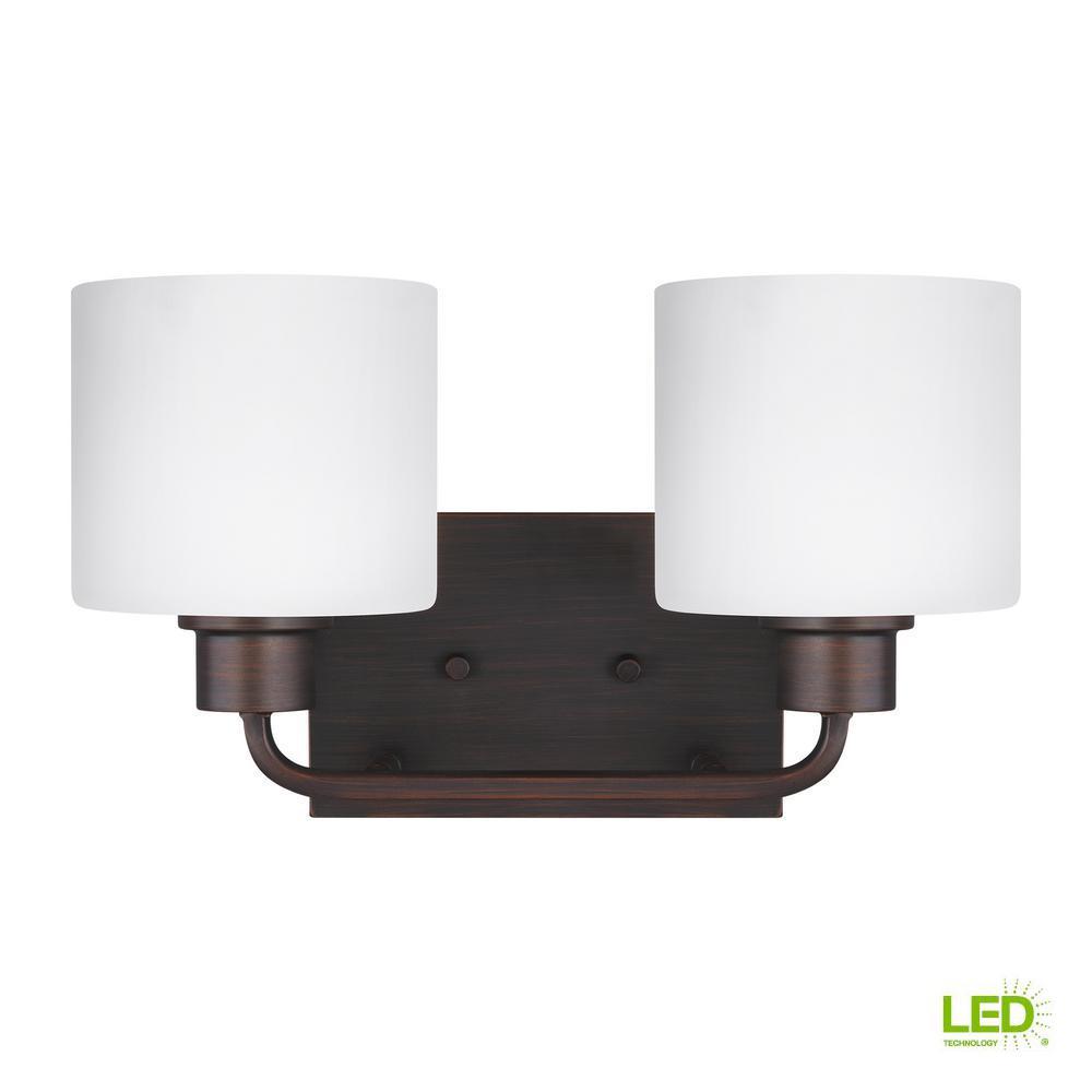 Canfield 2-Light Burnt Sienna Bath Light with LED Bulbs