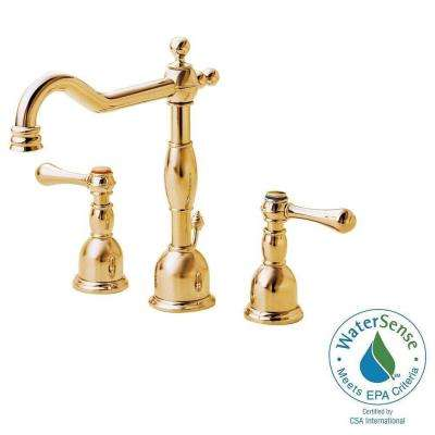 Opulence 8 in. Widespread 2-Handle High-Arc Bathroom Faucet in Polished Brass