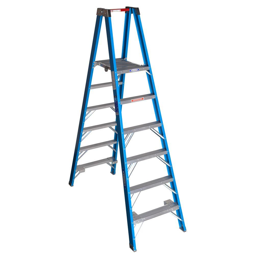 werner 12 ft reach fiberglass platform twin step ladder with 250 lb load capacity type i duty. Black Bedroom Furniture Sets. Home Design Ideas