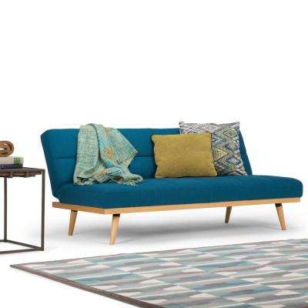 Spencer 1 Piece Mediterranean Blue Linen Look Fabric Sofa Bed