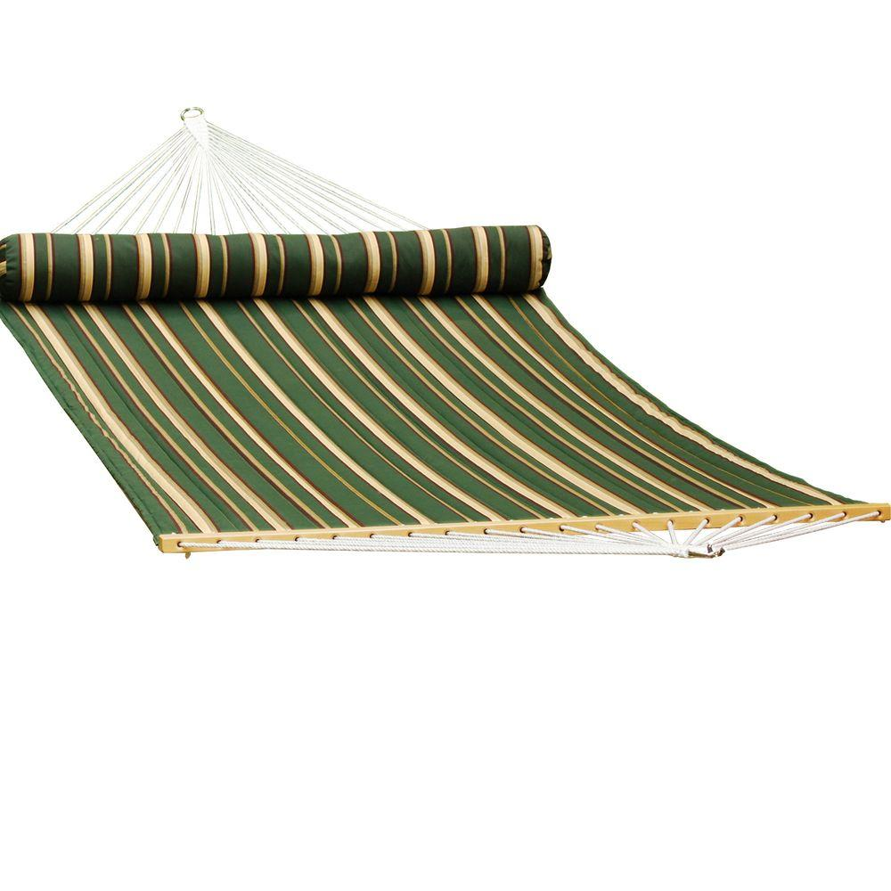 Quilted Reversible Hammock In Green Stripe With Matching Pillow