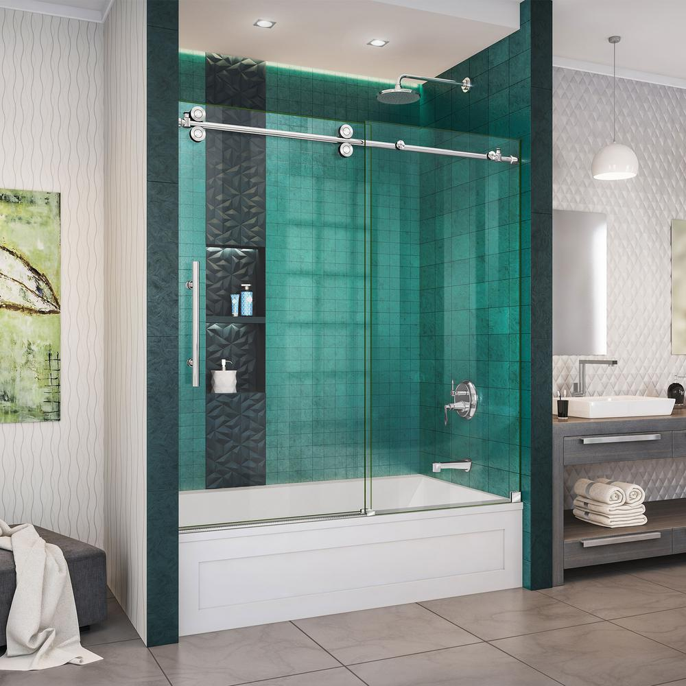 DreamLine Enigma-XO 55-59 in. W x 62 in. H Fully Frameless Sliding Tub Door  in Polished Stainless Steel