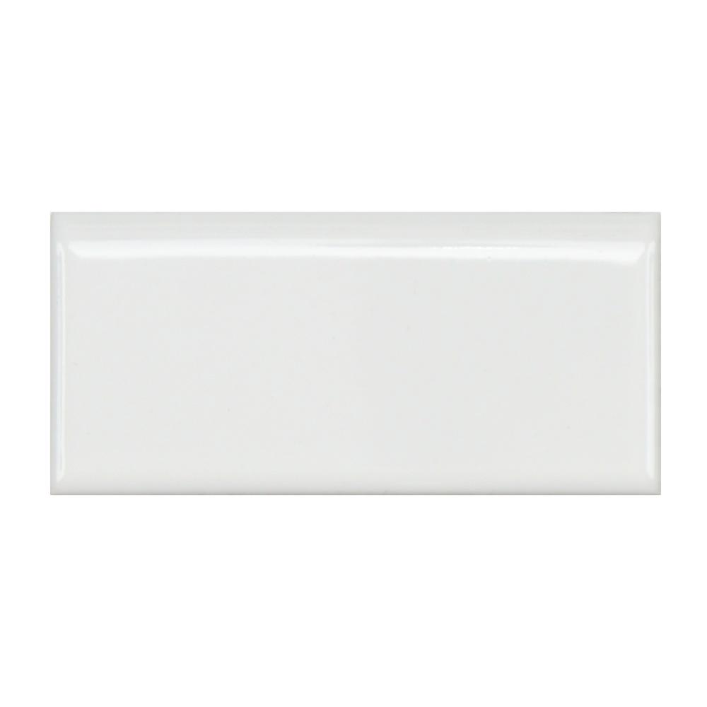 Merola Tile Metro Glossy White 1-3/4 in. x 3-3/4 in. Porcelain Bullnose Floor and Wall Trim Tile (0.5 sq. ft. / pack)