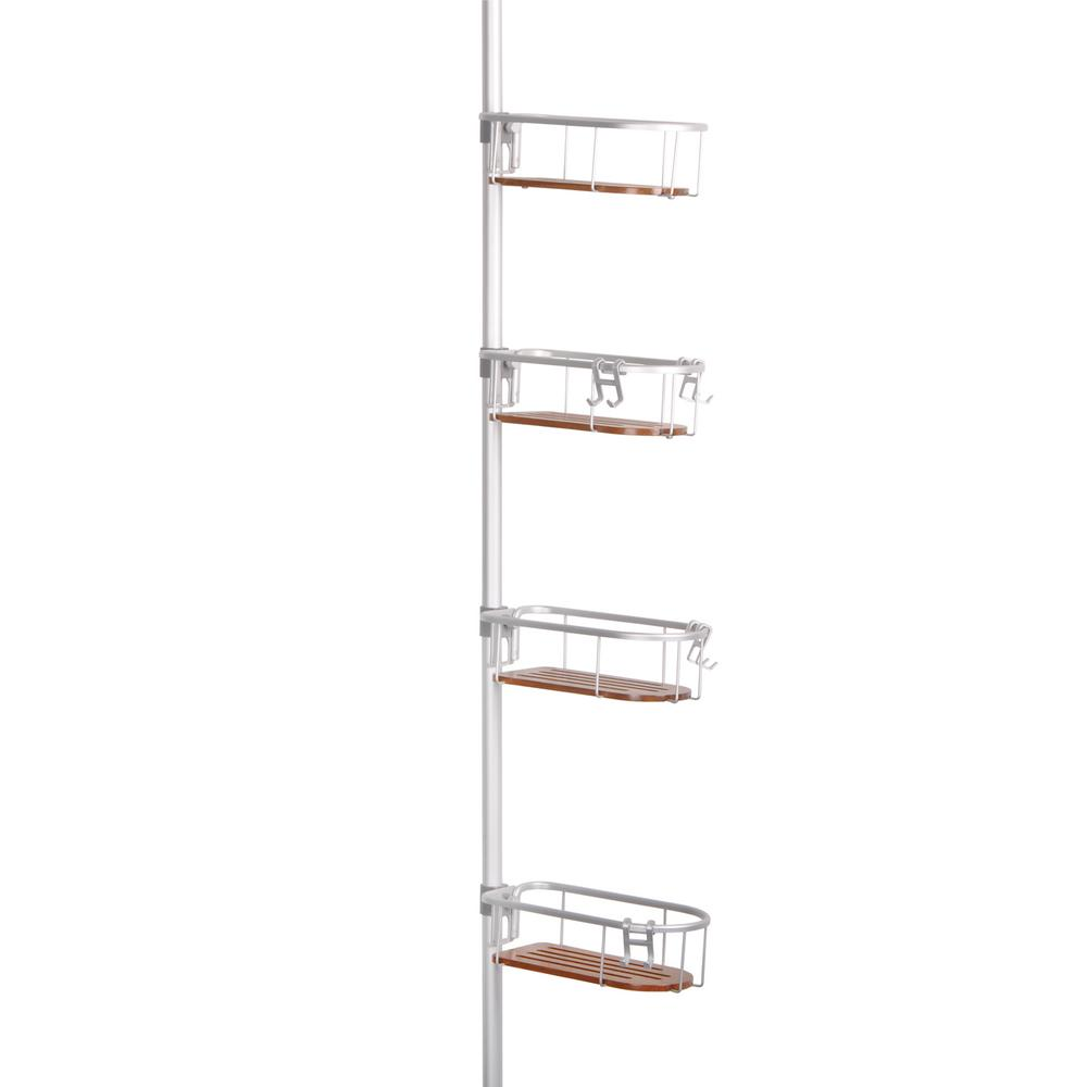 Tia 4 Tier Tension Pole Caddy in Rustproof Satin Chrome Finish