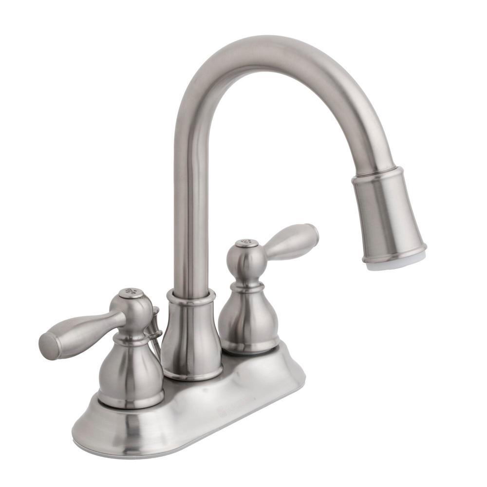 Mandouri 4 in. Centerset 2-Handle LED High-Arc Bathroom Faucet in Brushed Nickel
