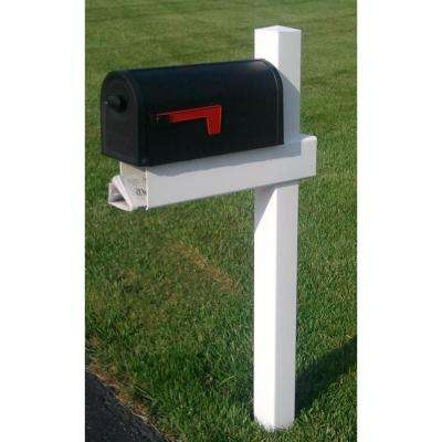 54 3/8 in. Adjustable Arm Mailbox Post Sleeve Kit in White with X Large Newspaper Holder