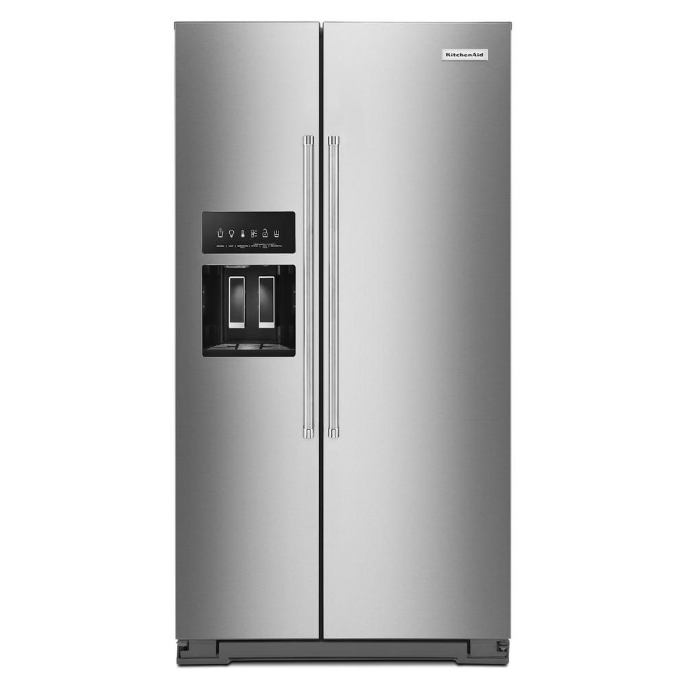 KitchenAid 36 in. W 24.8 cu. ft. Side by Side Refrigerator with Exterior Ice and Water in PrintShield Stainless Steel