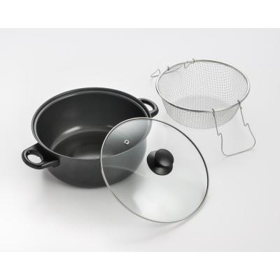 4.5 Qt. Carbon Steel Deep Fryer with Frying Basket and Vented Glass Lid