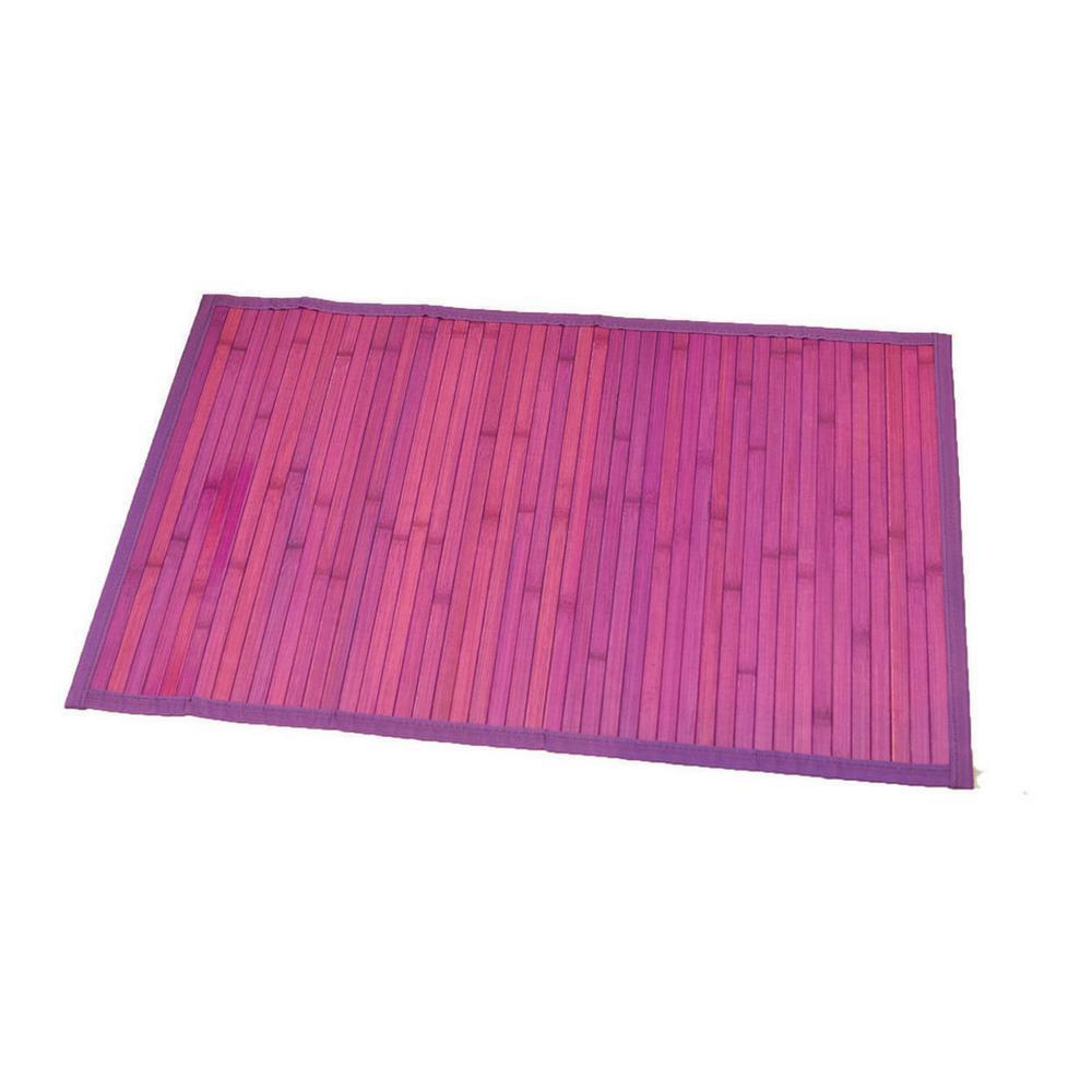 Purple 31.5 in. L x 20 in. W Bamboo Rug Bath Mat Anti Slippery