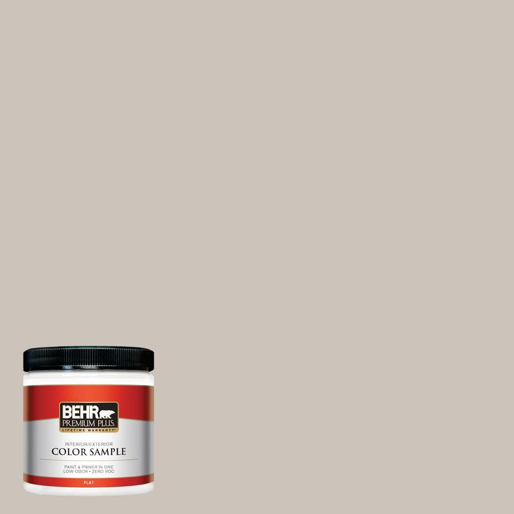 BEHR Premium Plus 8 oz. #N200-2 Doeskin Gray Flat Interior/Exterior Paint and Primer in One Sample
