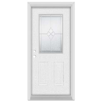 37.375 in. x 83 in. Geometric Right-Hand 1/2 Lite Zinc Finished Fiberglass Oak Woodgrain Prehung Front Door Brickmould
